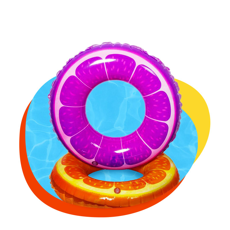 Customized inflatable PVC fruit color shapes children's swimming rings