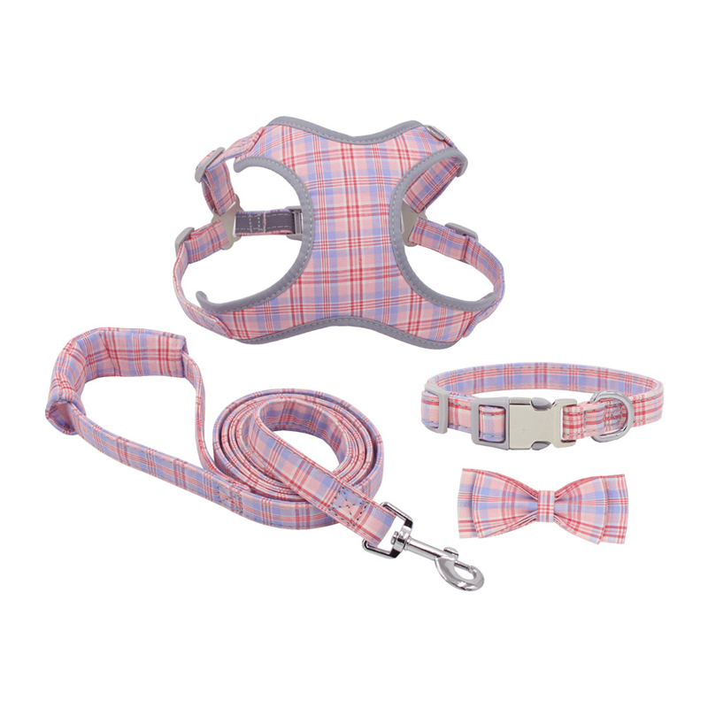 Cute Dog Puppy Harness Cotton Plaid Bowknot Collar Leash Set