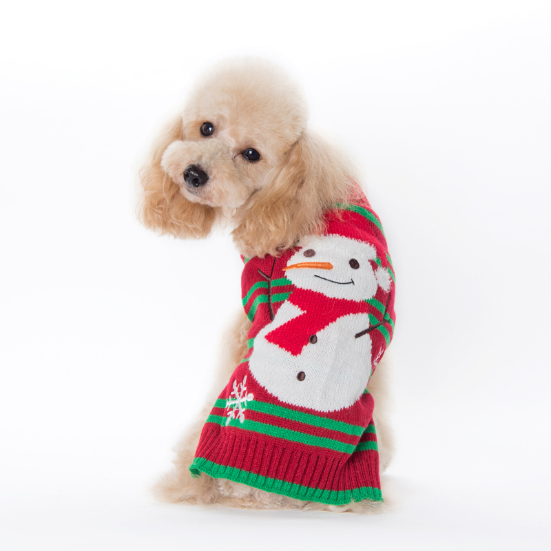 Wholesales Snowman Christmas Luxury Winter Warm Small Dog Sweater Dog Clothes